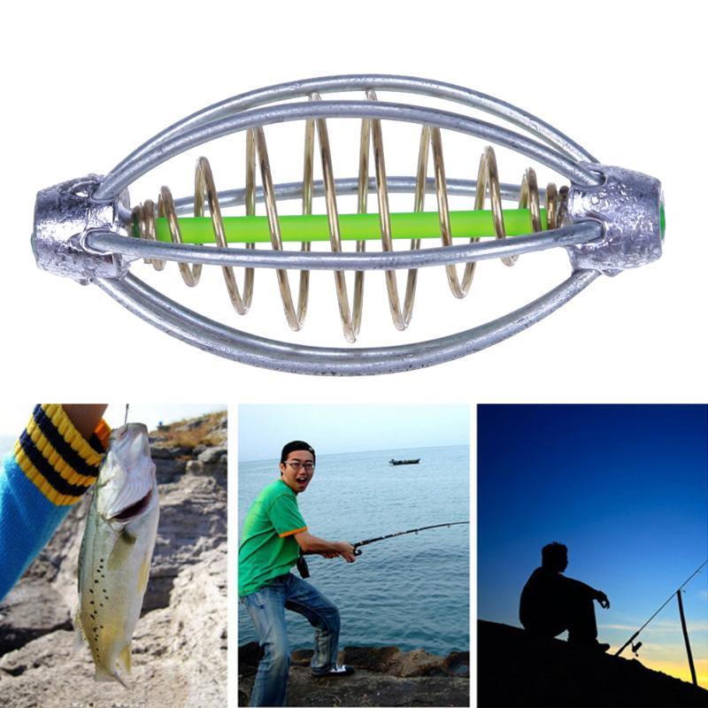 2 pçs primavera + chumbo isca de pesca gaiola alimentador titular arremesso de pesca carpa pesca catapultas isca gaiola cesta pesca equipamento ferramentas