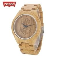 ZAZAC Full Bamboo Wood Watches Lost sea Anchors Bamboo Clock Wooden Wristwatches Men Luxury Watch relogio masculino de luxo