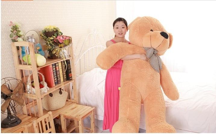 lovely huge bear toy plush toy cute big eyes bow stuffed bear toy teddy bear birthday gift light brown 160cm