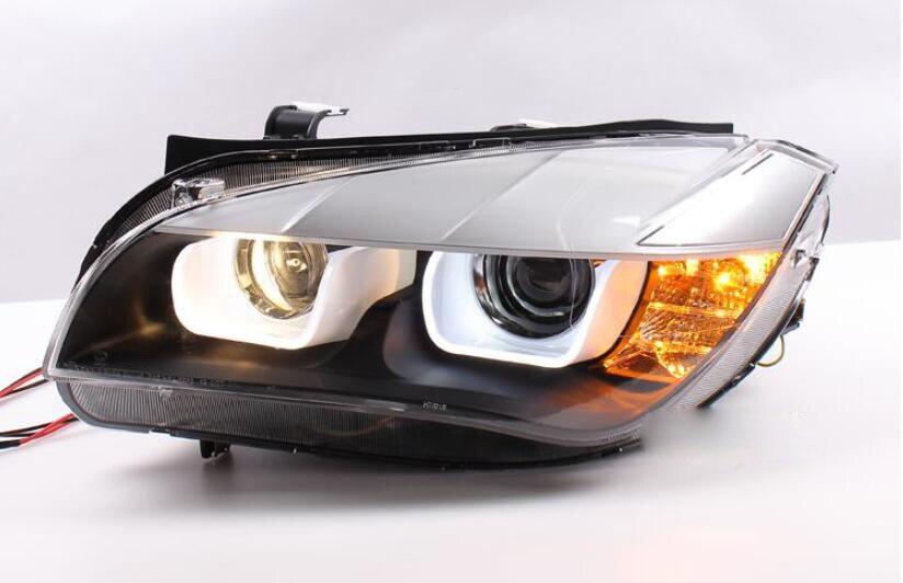 2 piezas lámpara de cabeza de estilo de coche para faro E84 2009 ~ 2014 año, x1 faro U CCFL Ángel ojo faro BI xenón frente accesspories