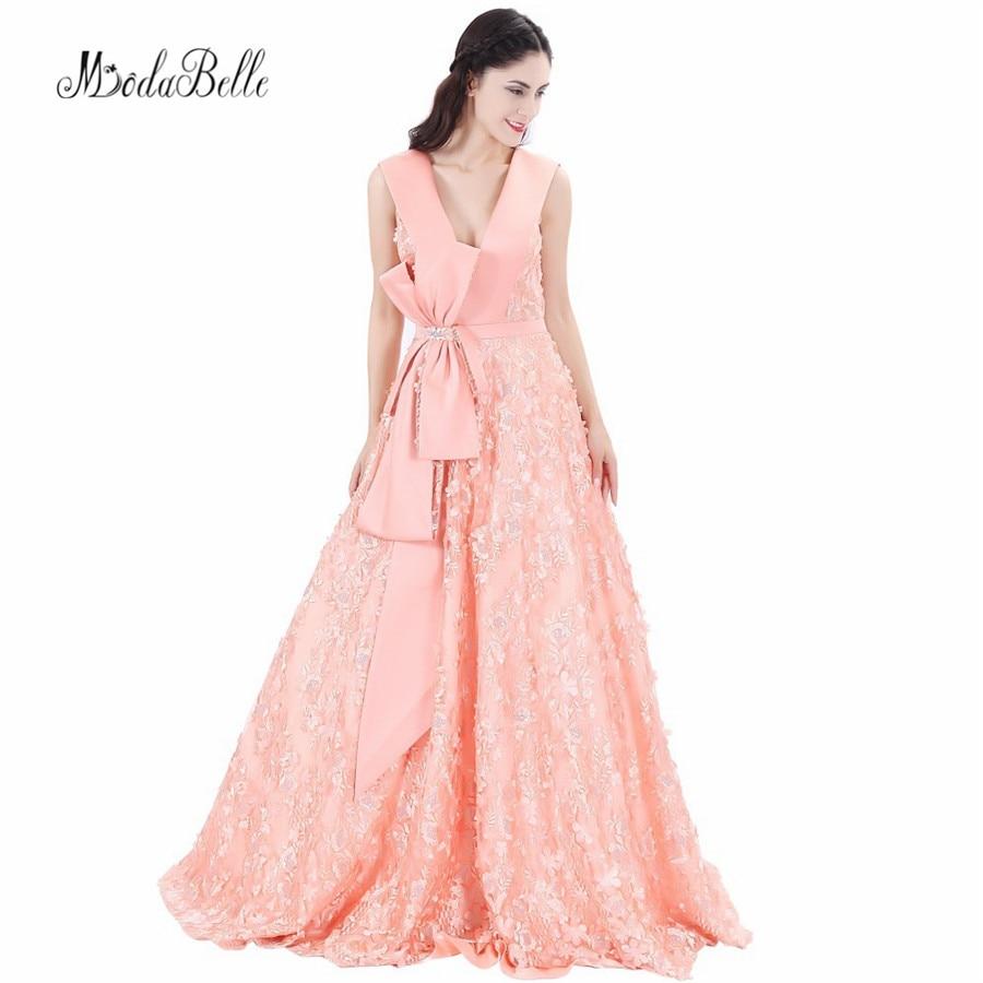 Modabelle Backless Árabe Sexy Rosa Coral Vestidos de Noite Longo 2017 Robe De Soiree Lace Floral 3D Flores vestido de Baile Vestidos de Noite