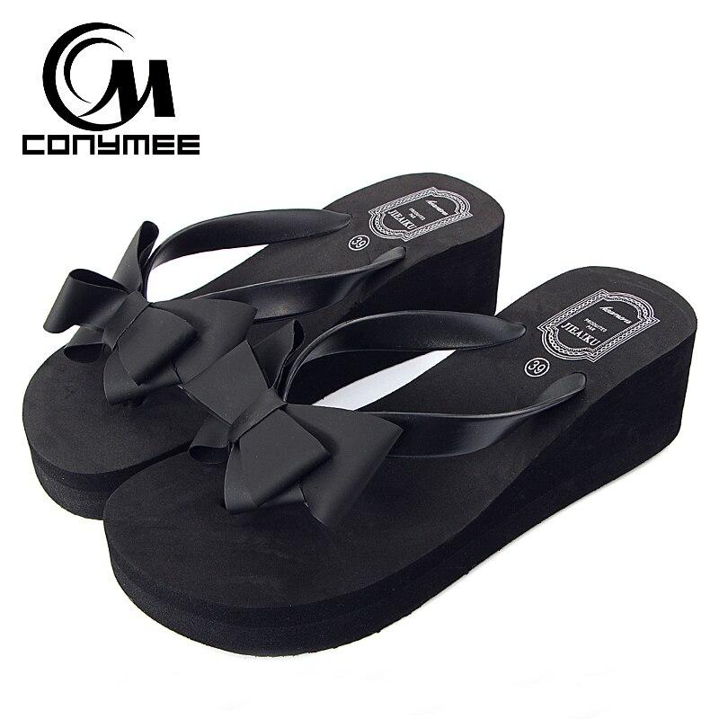 CONYMEE 2018, Zapatos de verano para Mujer, Sandalias de tacón alto, Bowknot, lindas Zapatillas de casa, chanclas de plataforma, Zapatos de Mujer, Sandalias de cuña