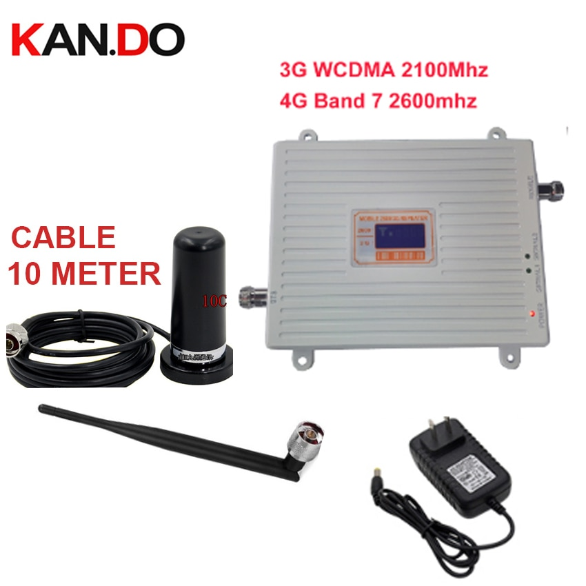 Home use 3G 4G booster repeater set w/ antenna 3G WCDMA &4G amplier BAND7 LTE 4G booster 22dbm 65dbi