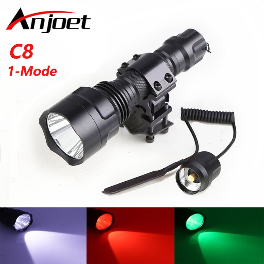 Anjoet led green/red/white light T6 Tactical Flashlight Hunting Rifle Torch Shotgun lighting Shot Gun Mount+Remote switch 18650