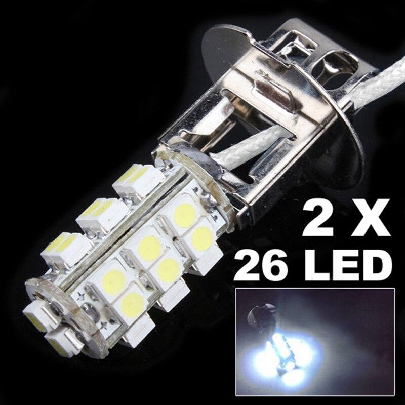 2 unids/set 12V faro antiniebla DE COCHE H3 26 3W SMD LED Bombilla blanca fría estilo de coche