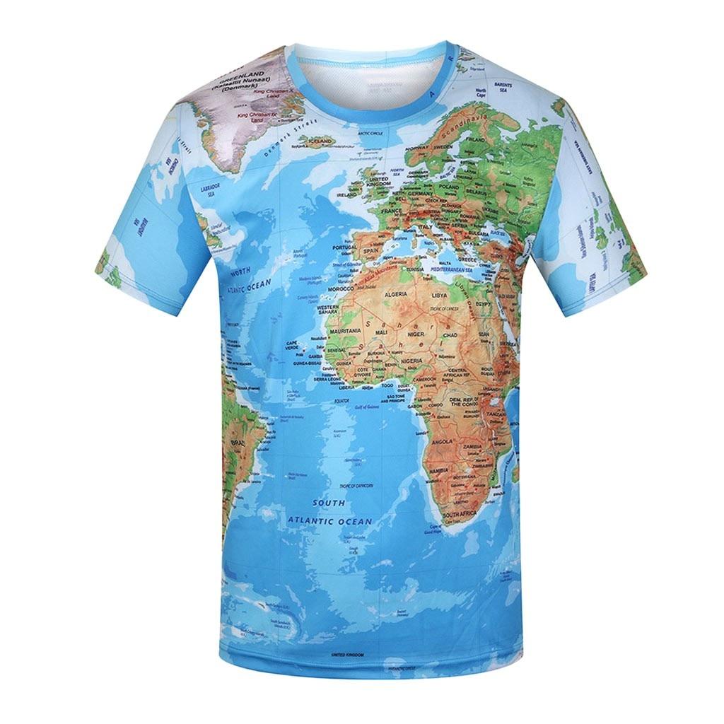Футболка с изображением карты мира, Забавные футболки, летняя модная футболка с аниме, 3D футболка, Мужская одежда, топы, футболки, Новое поступление 2019