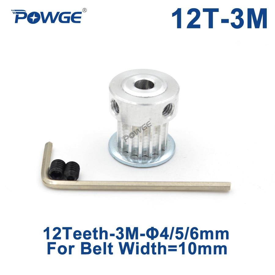 Polea síncrona POWGE de 12 dientes HTD 3M con diámetro de 4/5/6mm para correa dentada de 10mm 3M de ancho HTD3M rueda dentada de polea 12 T 12 dientes