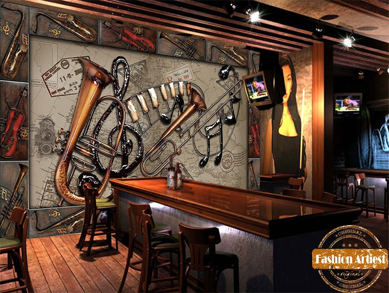 Custom music instruments note wallpaper mural saxophone violin sousaphone ktv sofa bedroom living room cafe bar restaurant