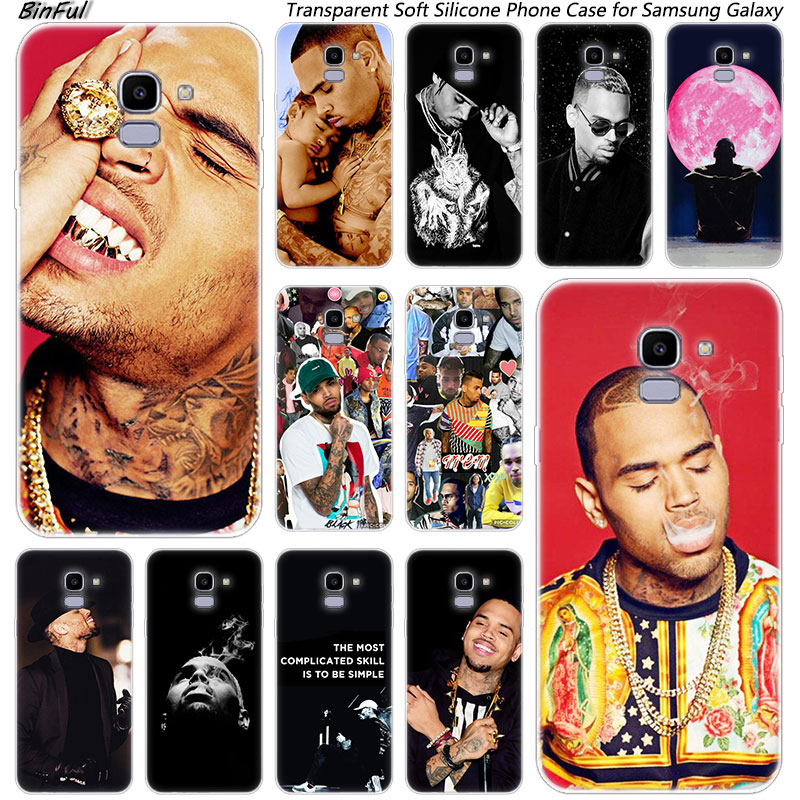 Cantante de hip hop Chris Brown del teléfono de silicona funda para Samsung Galaxy J8 J6 J4 2018 J2 Core J5 J6 J7 primer J3 2016 de 2017 de la UE J4 plus