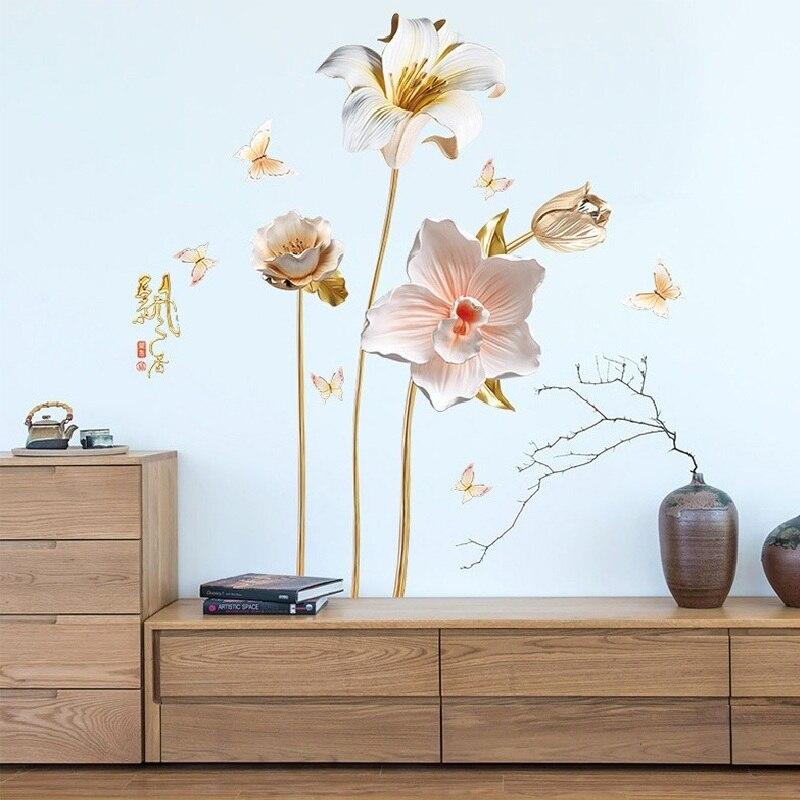 Adhesivos de pared de flores de orquídeas chinas para dormitorio decoración del hogar fondo plano Pastrol Mural puerta Diy Wallposters promoción