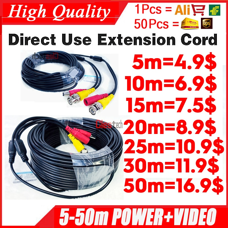 Venta al por mayor 5m 10m 15m 20m 30m 50m Video + power HD cobre Cámara extender extensión de cables con BNC + DC 2 en 1 Dos en Cable