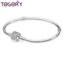 TOGORY argent plaqué 3mm basique serpent chaîne Fine Bracelet bricolage perles bijoux Original Bracelets à breloques et Bracelets pour femmes cadeau
