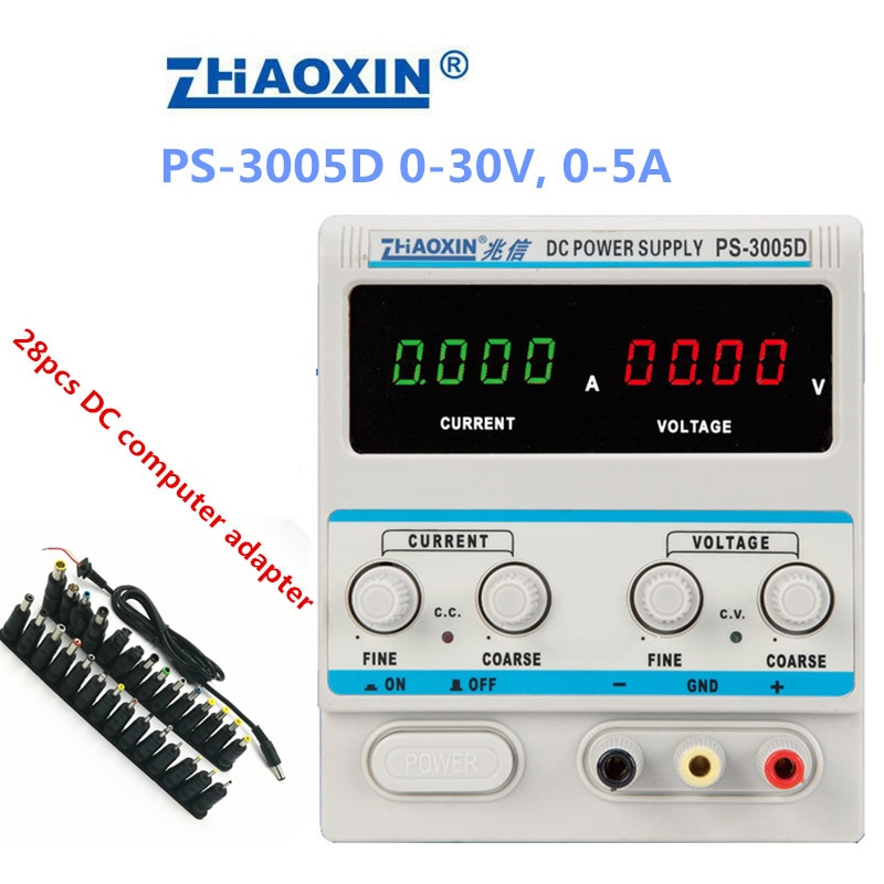 PS-3005D متغير 30V 5A DC امدادات الطاقة مختبر الصف 1mA قابل للتعديل 4 أرقام عرض مع 28 قطعة DC الكمبيوتر محول