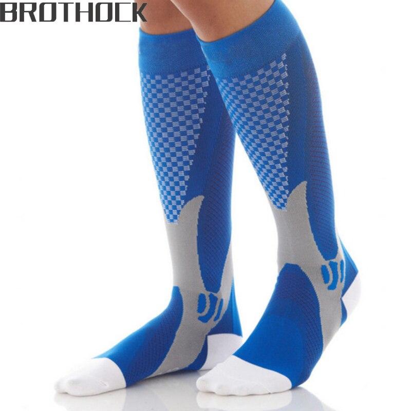 Brothock компрессионные чулки, беговые носки для занятий Баскетболом, нейлоновые противоотечные Эластичные Спортивные Компрессионные носки с футболом