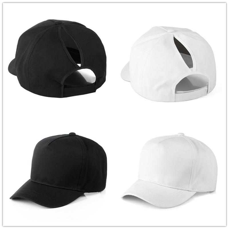 fashion Solid  Adjustable Cotton Cap Men Women Multicolor Ponytail Baseball Caps Outdoor Leisure Sun