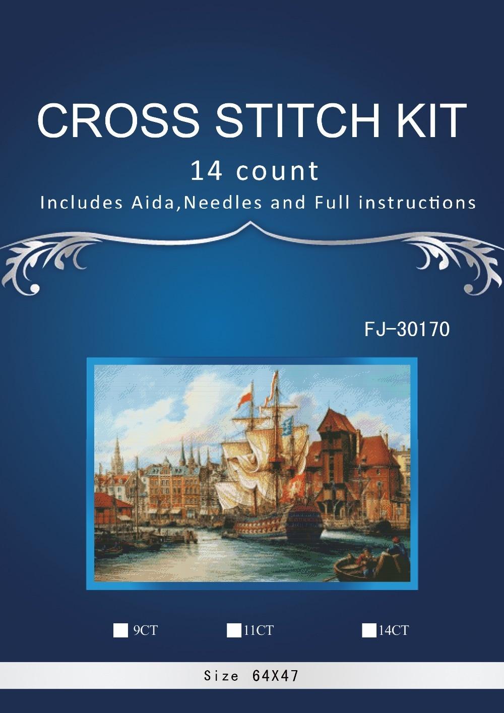 Top Quality Beautiful Lovely Counted Cross Stitch Kit sea corner with boat Similar DIM dmc cross stitch kit