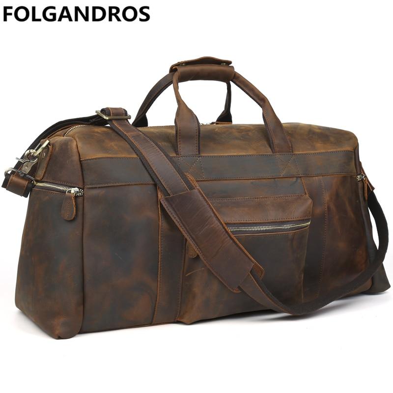Men Fashion Vintage Travel Bag Genuine Leather Travel Duffle Large Capacity Cowhide Luggage Bag Office Trip Portable Duffle Tote