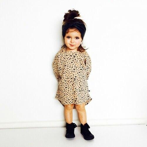 2019 neue Heißer Verkauf Kleinkind Kind Baby Mädchen Leopard Print Long Sleeve Top T-Shirt Party Casual Kleid