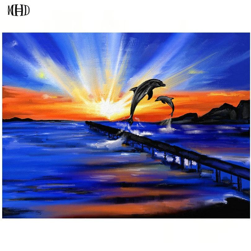 MHD DIY diamante pintura dos delfines Cruz puntada kits redondo diamante mosaico bordado iconos hogar decorativo