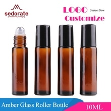 Sedorate 50 stks/partij 10 ML Glas Staal Roller Fles Amber Glazen Fles Essentiële Olie Containers Glas Roll Op Fles LZ029