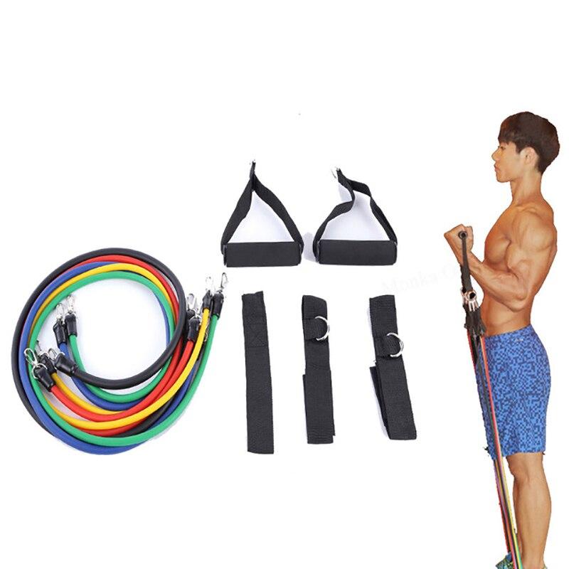 11 шт./компл. резистивные резинки экспандер Тяговая веревка для фитнеса, спортзала, резиновые латексные трубки, педаль, упражнения для тренировки тела, тренировки