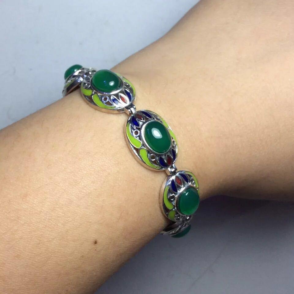 Retro Thai Silver S925 Sterling Silver Inlaid Natural Chrysoprase Women Vintage Cloisonne Atmospheric Bracelet