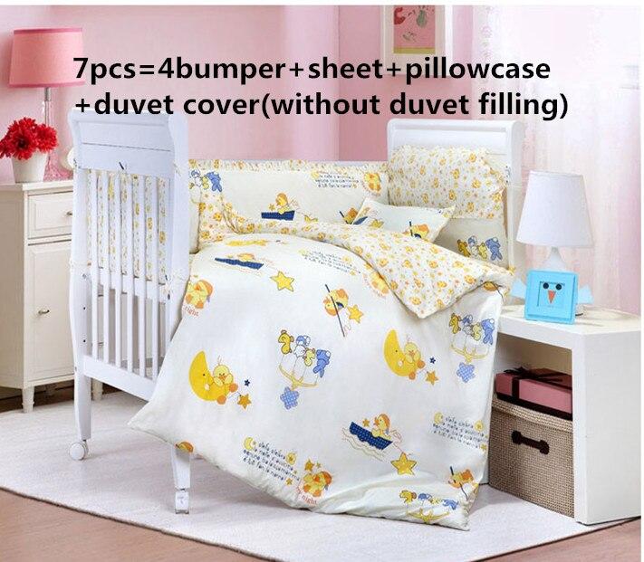 ¡Promoción! 6/7 piezas de ropa de cama de cuna para bebé, 100% algodón, juegos de cuna con relleno, 120*60/120*70 cm
