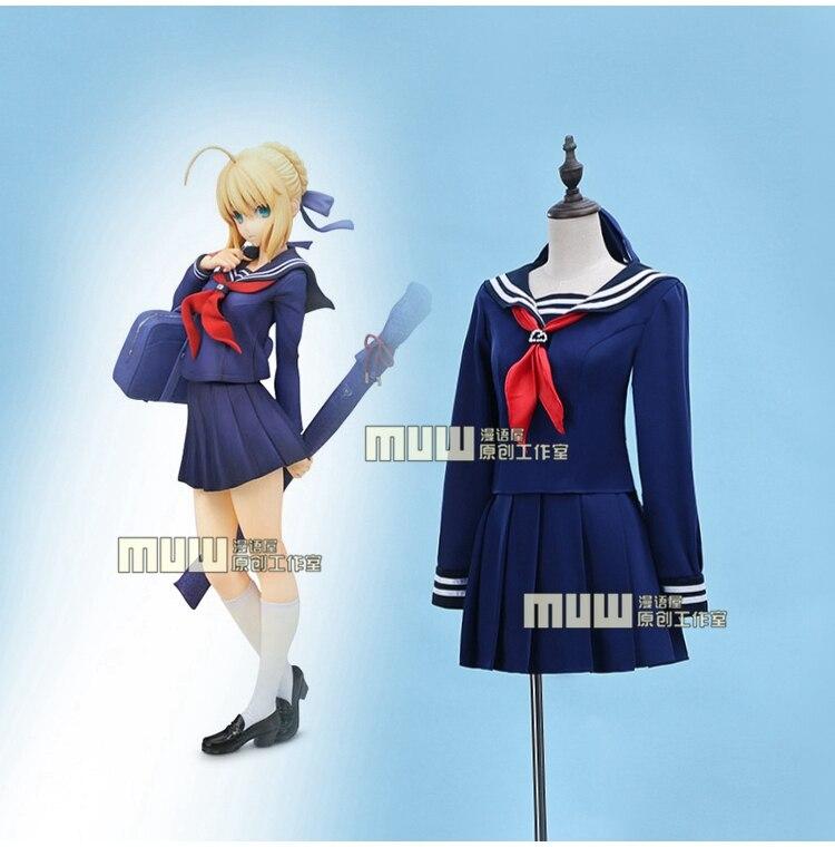 Envío Gratis Anime caliente fate/stay night sable de cosplay Pendragón arturia cos JK azul marinero traje escuela diaria trajes de uniformes