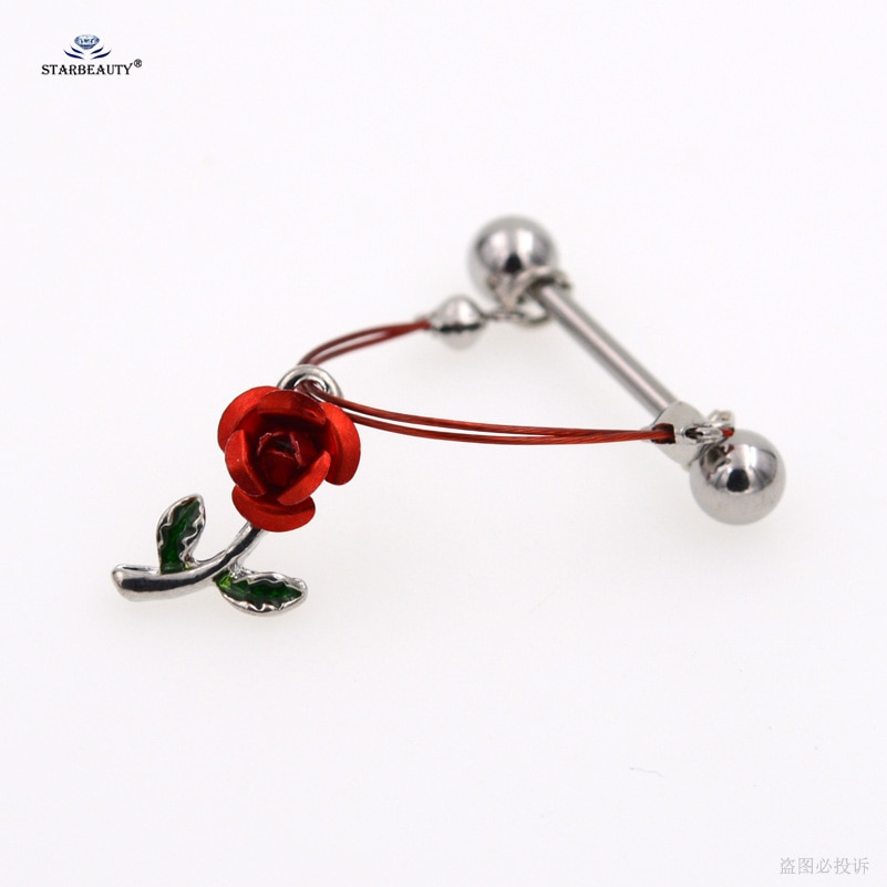 2 unids/lote 1.6X16mm romántica rosa roja pezón Piercing helicoidal Piercing pezón anillo hoja verde Sexy mujer joyería corporal Piercing regalos