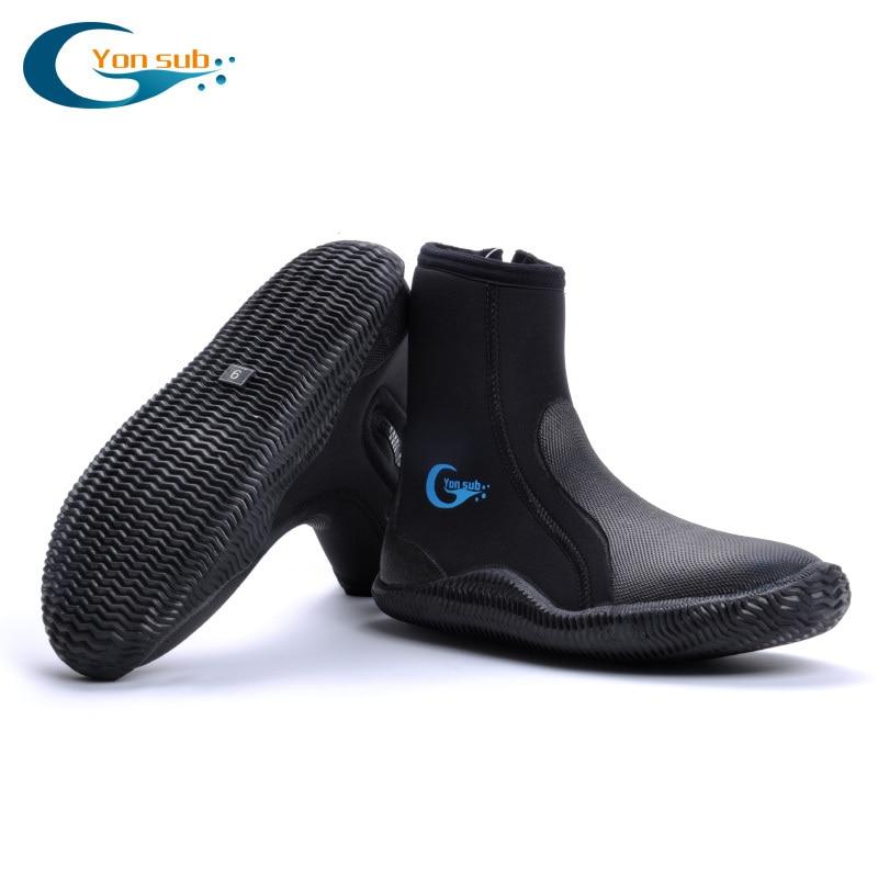 YONSUB 5MM Neoprene Scuba Vulcanization High Upper Diving Boots Anti-slip Adult Warm Fins Spearfishing Shoes