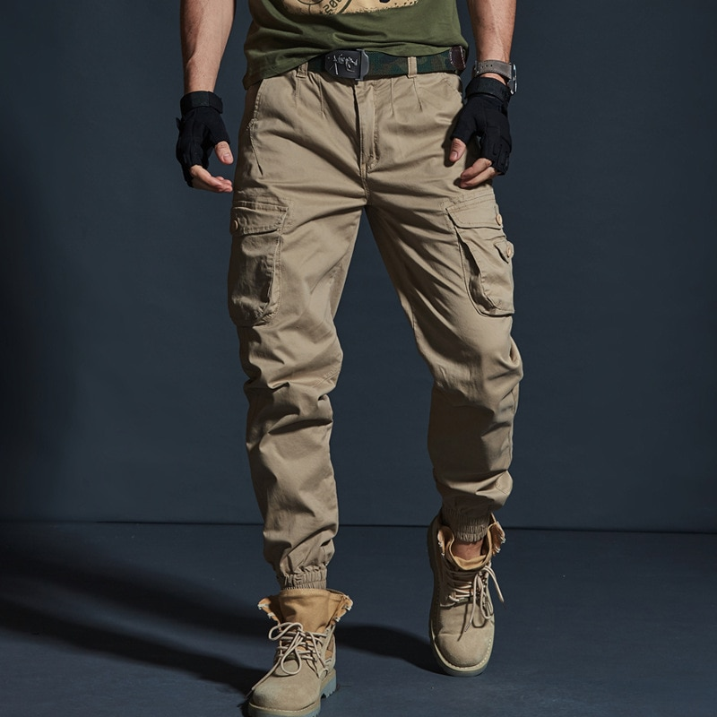 High Quality Khaki Casual Pants Men Military Tactical Joggers Camouflage Cargo Pants Multi-Pocket Fa