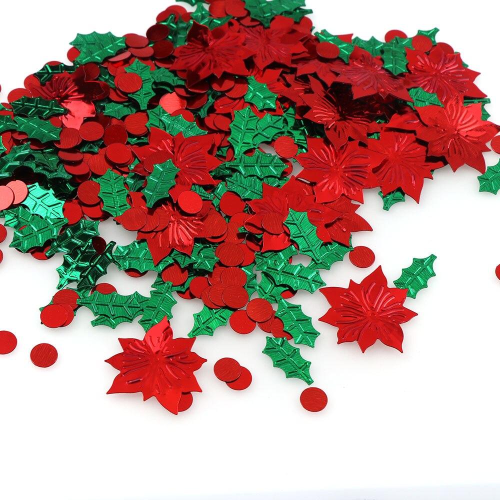 Mezcla de 15g colores de plástico, hojas verdes de Navidad, flores rojas, confeti, papel de aluminio, lentejuelas, regalo de Navidad, decoraciones para mesa