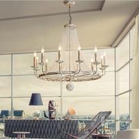 European style white Vintage luxury big LED crystal chandelier lamp lustres modern E14 lights for living room bedroom