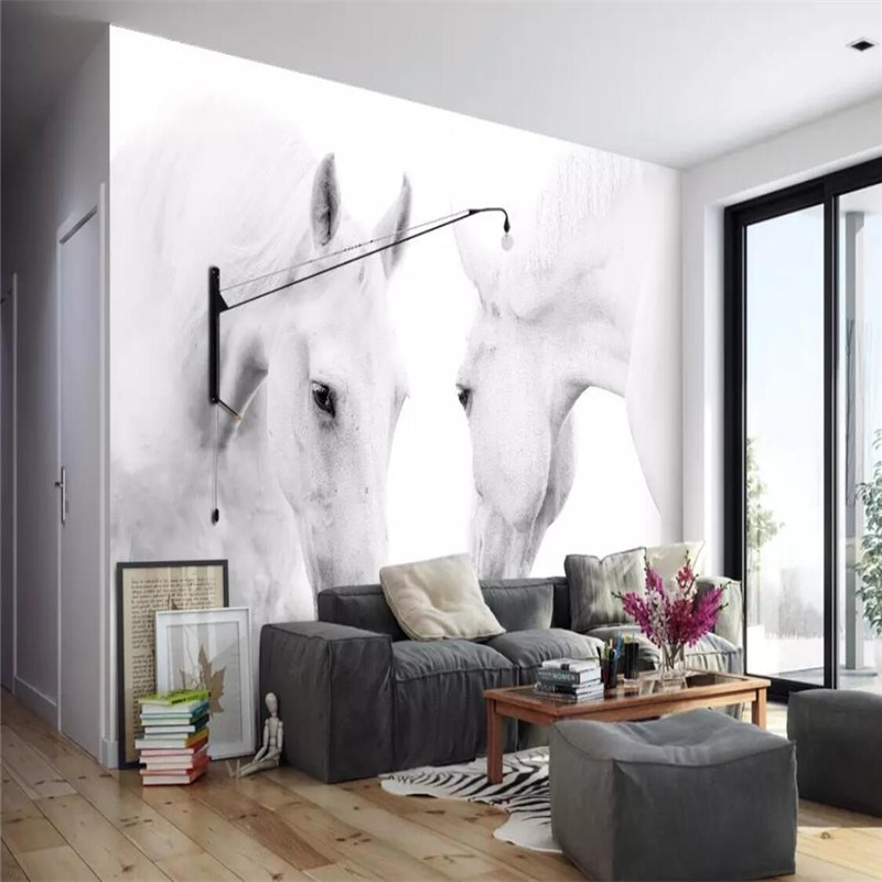 White horse art wall background painting professional production wallpaper mural custom photo wallpaper