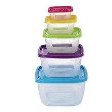 5 teile/satz Abgedichtet Quadratischen Runde Schärfer Kühlschrank Kunststoff Regenbogen Lebensmittel Lagerung Boxen Erhaltung Box Container Küche Liefert