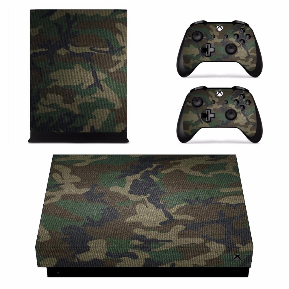 Adhesivos extraíbles de camuflaje para Microsoft Xbox One X consola y 2 controladores para Xbox One X Skins pegatina de vinilo