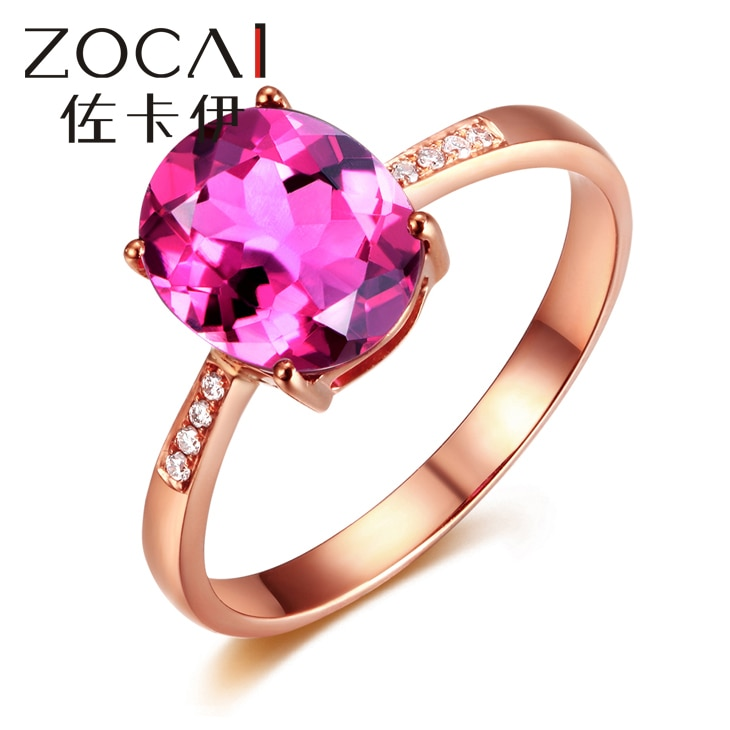 ZOCAI MARCA ANEL REAL 18 K ROSE GOLD 1.0 CT REAL PROFUNDO PINKLISH ROXO ANEL de TURMALINA 0.02 CT ANEL DE DIAMANTE