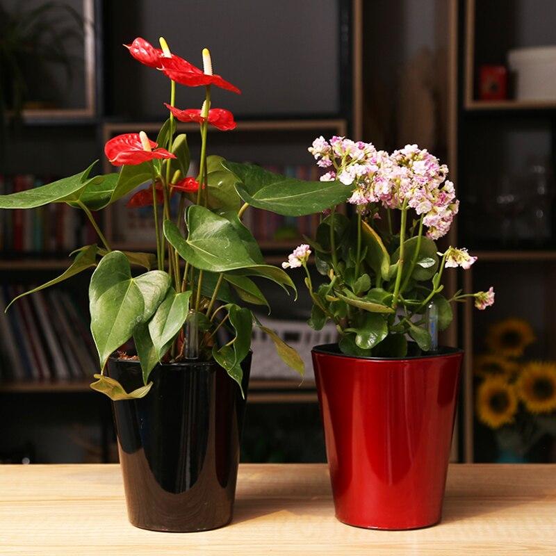 Eight color Water level gauge automatic watering pot Intelligent plastic flower pots pastoral Corrosion resistance flower pot