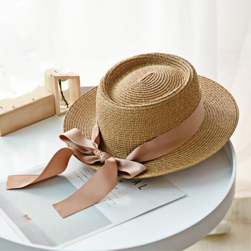 Sombrero de Paja de verano Seioum, sombrero de ala ancha de playa grande para mujer, sombrero plegable para el sol, protección UV, Sombrero de Panamá, sombrero femenino