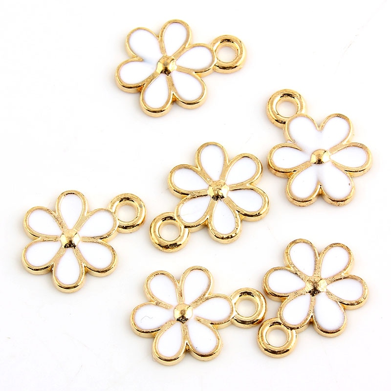 10pcs 11x15mm Alloy Chrysanthemum Gold color Enamel Charm Pendant Fit DIY jewelry Making Necklace Earrings