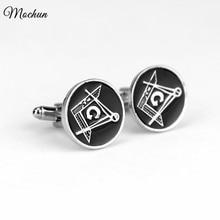 MQCHUN Masonic Black Cufflinks for the Freemason Masonry Sleeve Buttons Masons Men Cuff Link for Gar