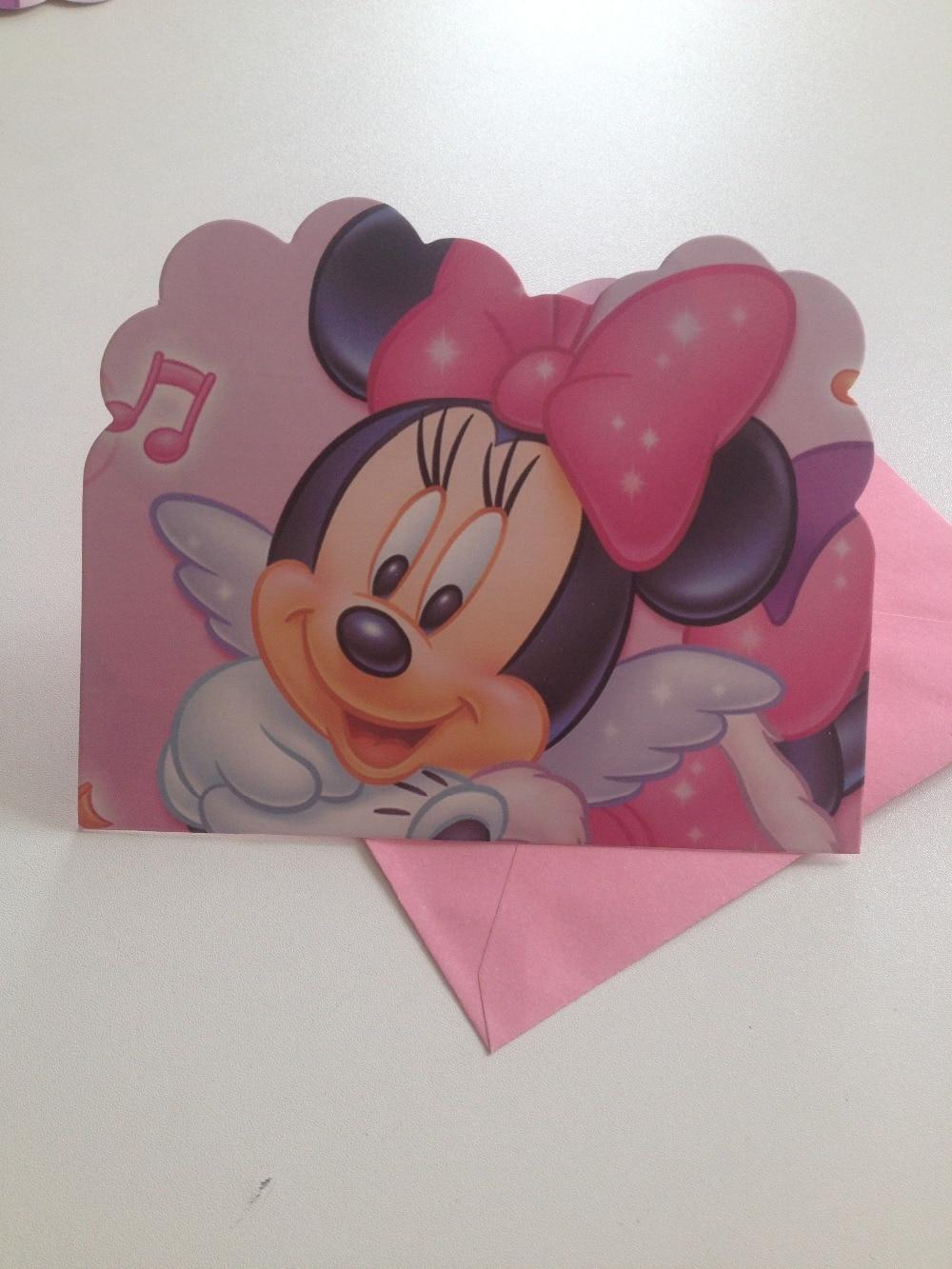 12 piezas/lote suministros de Fiesta de Minnie Mouse de dibujos animados decoraciones para fiesta de cumpleaños de los niños y suministros de invitaciones de cumpleaños bonitos 28