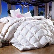 Blanco rosa edredón 100% ganso kduvet invierno/otoño de costura acolchada colcha de cama Manta