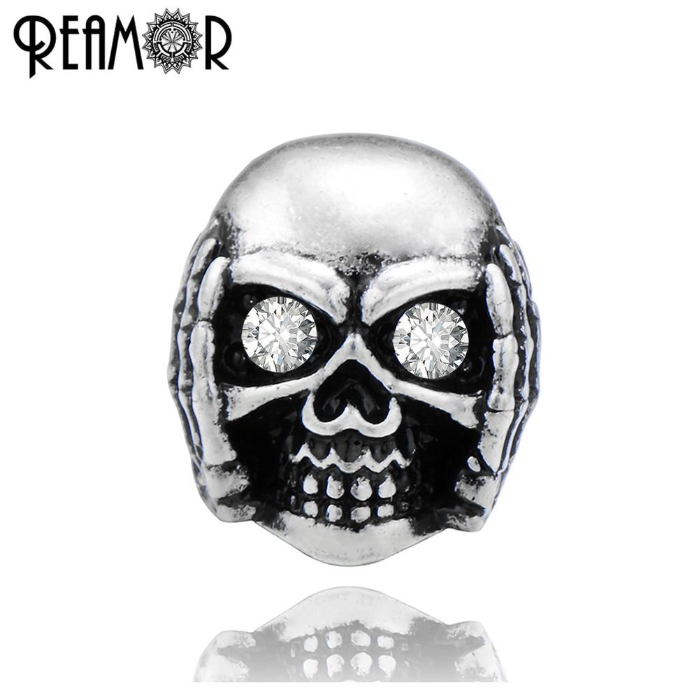 REAMOR Hip Hop Metal Skull Hear No Evil Beads 3mm doble agujero rojo cobre espaciador dije cuentas para DIY hombres pulsera fabricación de joyería
