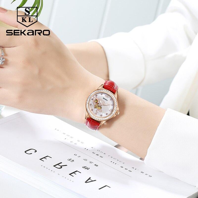 SEKARO Women Ceramic Rhinestone Clock Love Design Watch Women's Wristwatch Top Brand Luxury Women Watches Gift Relogio Feminino enlarge