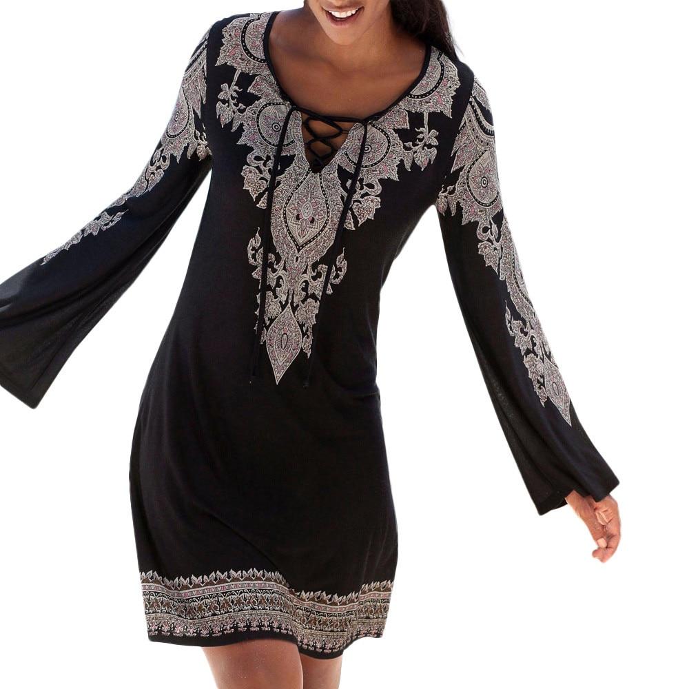 Women Halter Neck Boho Print Long Sleeve Casual Mini Beachwear Dress Sundress Elegant Vintage Boho Beach Party Dress saia#s