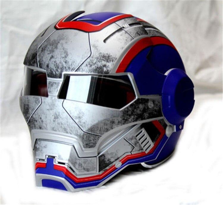 Men women Masei 610 Iron Man Patriot personality special motorcycle offbeat half open face motocross Helmet-Blue