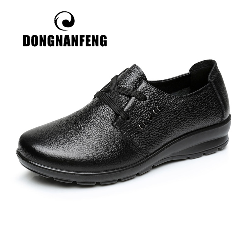 AliExpress - DONGNANFENG Women Old Mother Shoes Flats Cow Genuine Leather Loafers PU Lace Up Round Toe Non Slip Soft Solid 35-41 JN-5257