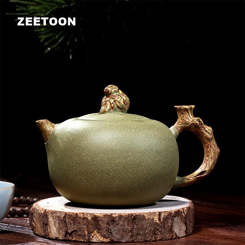 340cc autêntico yixing bule saúde chinesa barro roxo mestre artesanal macaco xianrui pote feijão areia verde zisha chaleira bule de chá