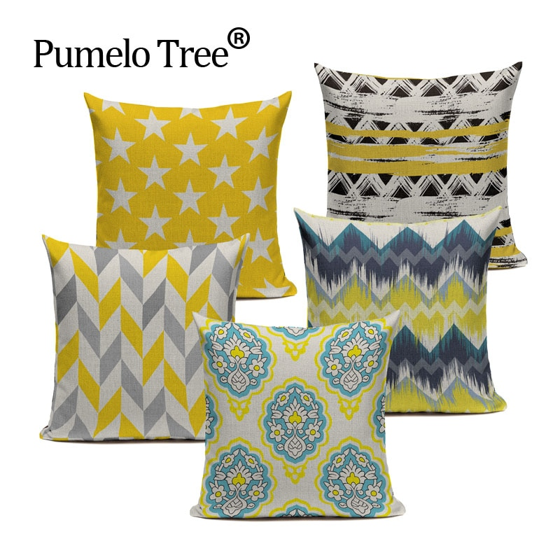 Custom Cushions Yellow Geometric Decor Throw Pillows Case High Quality  Creative Decoration  Linen For Sofa Car Cushion Cover